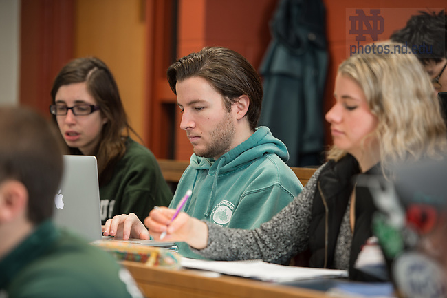 March 29, 2017; Katherine Hilkert's Theology class. (Photo by Barbara Johnston/University of Notre Dame)