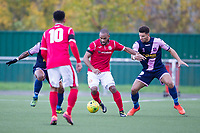 Jared Small of Harlow Town under pressure from the visitors during Harlow Town vs Dulwich Hamlet, Buildbase FA Trophy Football at The Harlow Arena on 11th November 2017