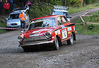 Callum Barney / Ron Channon at Junction 6, on Special Stage 1 Craigvinean in the Colin McRae Forest Stages Rally 2012, Round 8 of the RAC MSA Scotish Rally Championship which was organised by Coltness Car Club and based in Aberfeldy on 5.10.12.