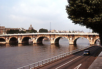 Paris: Pont Neuf and highway encroachment on River Seine. Photo '90.