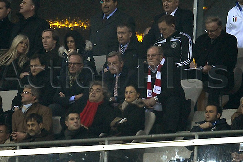 15 03 2011  Champions League last 16 round  second leg  FC Bayern Munich versus  Inter Milan Alliance Arena Munich Frustration and CEO Karl Heinz Rummenigge Munich manager Karl Hopfner Bayern Munich President Uli Hoeness Munich