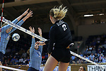 DURHAM, NC - NOVEMBER 24: Duke's Jessi Bartholomew (2). The Duke University Blue Devils hosted the University of North Carolina Tar Heels on November 24, 2017 at Cameron Indoor Stadium in Durham, NC in a Division I women's college volleyball match. Duke won 3-0 (25-21, 25-22, 25-20).