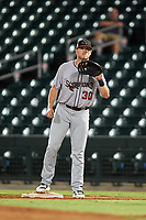 Scottsdale Scorpions first baseman Greyson Jenista (30), of the Atlanta Braves organization, prepares to catch a throw during an Arizona Fall League game against the Mesa Solar Sox on September 18, 2019 at Sloan Park in Mesa, Arizona. Scottsdale defeated Mesa 5-4. (Zachary Lucy/Four Seam Images)