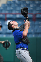 Bryant Bowen (21) of Captain Shreve High School in Shreveport, Louisiana playing for the New York Mets scout team during the East Coast Pro Showcase on August 1, 2014 at NBT Bank Stadium in Syracuse, New York.  (Mike Janes/Four Seam Images)