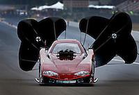 Aug. 3, 2013; Kent, WA, USA: NHRA top alcohol funny car driver John Evanchuk during qualifying for the Northwest Nationals at Pacific Raceways. Mandatory Credit: Mark J. Rebilas-USA TODAY Sports