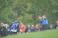 Ryder Cup 206 K Club, Straffin, Ireland...European Ryder Cup team player Darren Clarke on the fairway of the 4th hole during  the  morning fourballs session of the second day of the 2006 Ryder Cup at the K Club in Straffan, Co Kildare, in the Republic of Ireland, 23 September 2006...Photo: Eoin Clarke/ Newsfile.