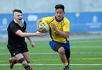 Action from the 2018 Hurricanes Secondary Schools Under-15 Boys' Rugby Tournament match between Gisborne Boys' High School and Rongotai College at Fraser Park in Wellington, New Zealand on Thursday, 6 September 2018. Photo: Dave Lintott / lintottphoto.co.nz