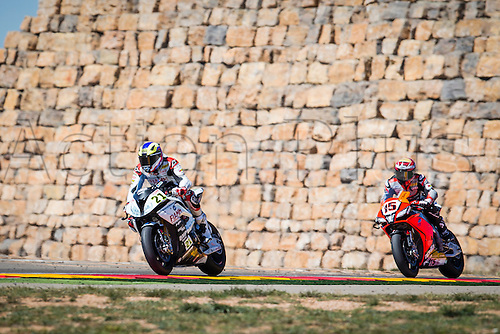 02.04.2016. Motorland, Aragon, Spain. World Championship Motul FIM of Superbikes.  Markus Reiterberger #21, BMW S1000 RR rider of Superbike and Alex De Angelis #15, Aprilia RSV4 RF rider of Superbike, in action during the race  in the World Championship Motul FIM of Superbikes from the Circuito de Motorland.