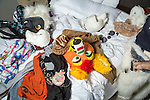 Furry Weekend Atlanta - Several heads and other fur suit parts lie on the hotel bed of one of the attendees...Photo by Raymond McCrea Jones