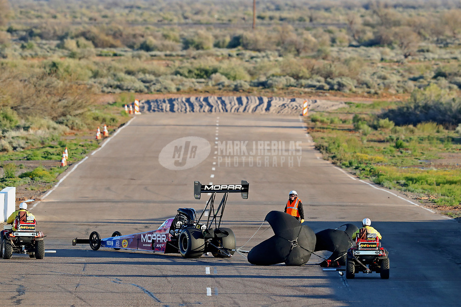 Feb 23, 2019; Chandler, AZ, USA; NHRA top fuel driver Leah Pritchett during qualifying for the Arizona Nationals at Wild Horse Pass Motorsports Park. Mandatory Credit: Mark J. Rebilas-USA TODAY Sports