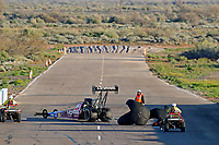 Feb 23, 2019; Chandler, AZ, USA; NHRA top fuel driver Leah Pritchett during qualifying for the Arizona Nationals at Wild Horse Pass Motorsports Park. Mandatory Credit: Mark J. Rebilas-USA TODAY Sports