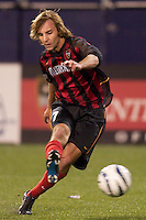 Mike Magee of the MetroStars takes a shot. The Columbus Crew defeated the NY/NJ MetroStars 1-0 on 4/12/03 at Giant's Stadium, NJ.