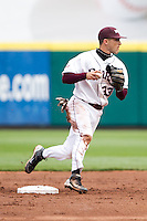 Spiker Helms (33) of the Missouri State Bears turns a double play during a game against the Oral Roberts Golden Eagles on March 27, 2011 at Hammons Field in Springfield, Missouri.  Photo By David Welker/Four Seam Images