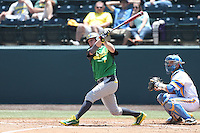 Nick Catalano #7 of the Oregon Ducks bats against the UCLA Bruins at Jackie Robinson Stadium on May 18, 2014 in Los Angeles, California. Oregon defeated UCLA, 5-4. (Larry Goren/Four Seam Images)