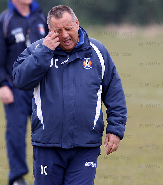 Jimm y Calderwood feeling the strain as Kilmarnock go head to head with relegation candidates St Mirren tomorrow in a six pointer game