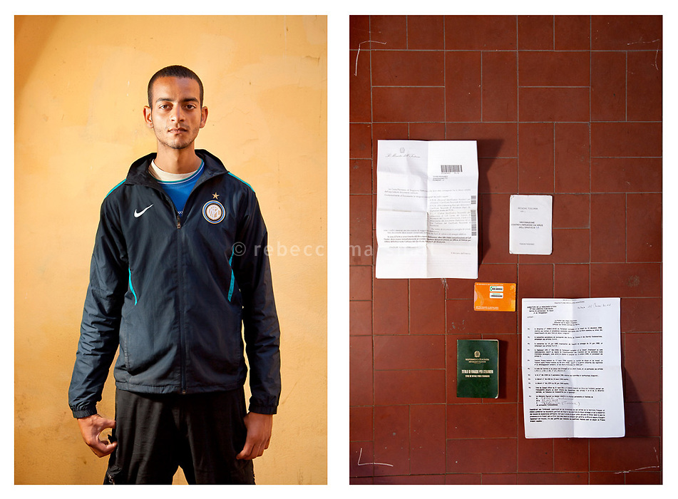 Mohmed, 23 yrs, poses for the photographer, Ventimiglia, Italy 17 May 2011. <br />