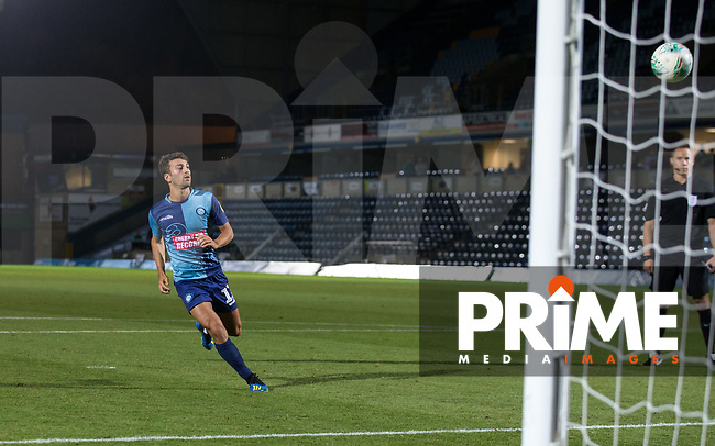 Scott Kashket of Wycombe Wanderers screw his penalty during the Carabao Cup match between Wycombe Wanderers and Northampton Town at Adams Park, High Wycombe, England on 14 August 2018. Photo by Andy Rowland.