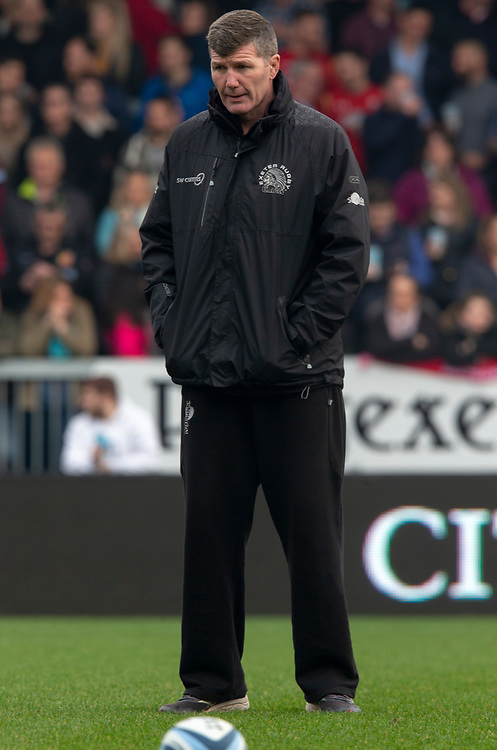 Exeter Chiefs' Head Coach Rob Baxter<br /> <br /> Photographer Bob Bradford/CameraSport<br /> <br /> Gallagher Premiership - Exeter Chiefs v Newcastle Falcons - Saturday 23rd February 2019 - Sandy Park - Exeter<br /> <br /> World Copyright © 2019 CameraSport. All rights reserved. 43 Linden Ave. Countesthorpe. Leicester. England. LE8 5PG - Tel: +44 (0) 116 277 4147 - admin@camerasport.com - www.camerasport.com