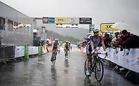 misty finish line arrival by Thibaut Pinot (FRA/Groupama-FDJ)<br /> <br /> torrential rainstorm hits Stage 7: Saint-Genix-les-Villages to Pipay  (133km)<br /> 71st Critérium du Dauphiné 2019 (2.UWT)<br /> <br /> ©kramon