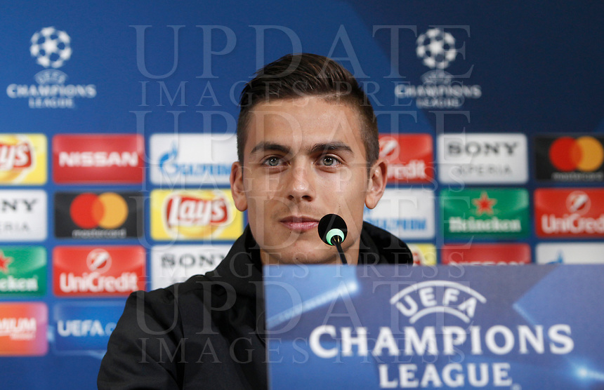 Juventus' Paulo Dybala attends a press conference ahead of the Champions League round of 16 second leg soccer match against Porto, in Turin, 13 March 2017.<br /> UPDATE IMAGES PRESS/Isabella Bonotto