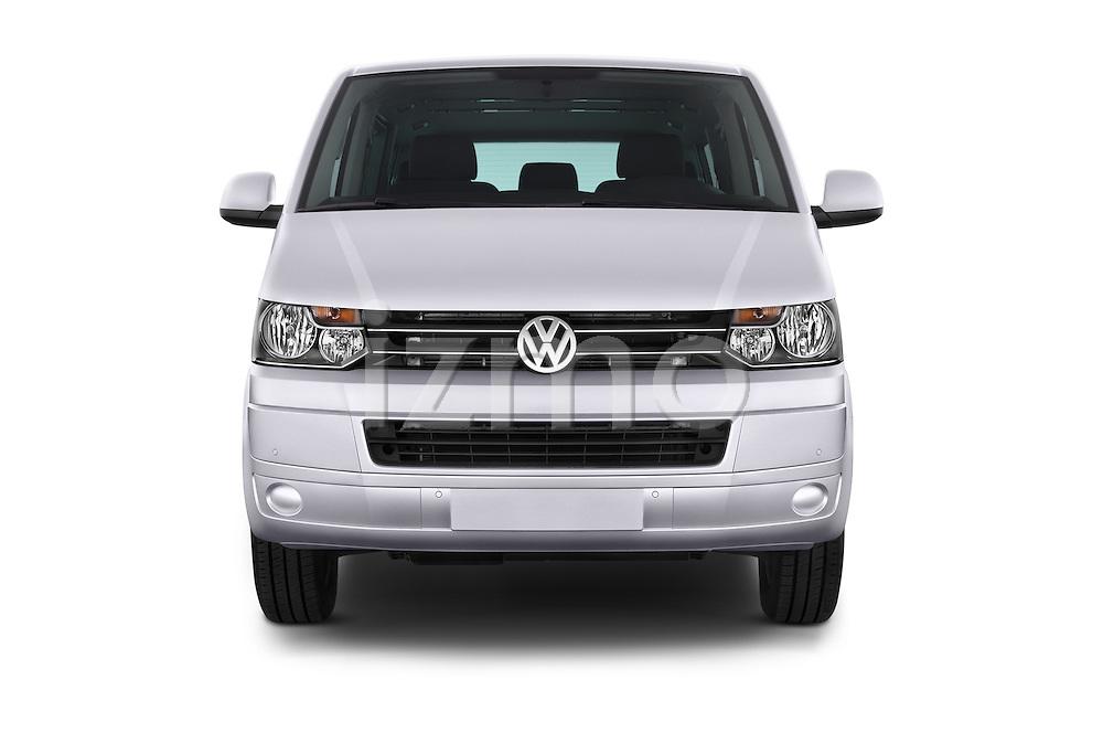 Car photography straight front view of a 2014 Volkswagen CARAVELLE COMFORTLINE 4 Door Passenger Van Front View