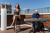 Spanish singer Lucy Lummis and Borja Arias during the presentation of his new concert at the courtyard of Galileo theater on the terrace of Vincci Hotel of Madrid. August 11, 2016. (ALTERPHOTOS/Rodrigo Jimenez) /NORTEPHOTO