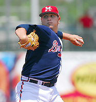 Pitcher Jo-Jo Reyes of the Mississippi Braves, the Atlanta Braves' Class AA affiliate of the Southern League, in a game April 23, 2007, against the Birmingham Barons at Trustmark Park in Pearl, Miss. Photo by:  Tom Priddy/Four Seam Images