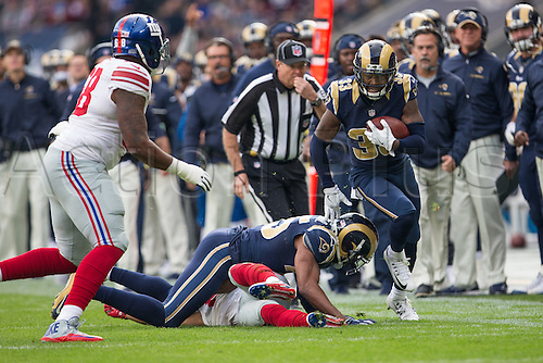 23.10.2016. Twickenham, London, England. NFL International Series. New York Giants versus LA Rams. Los Angeles Rams defensive back E.J. Gaines runs with the ball.