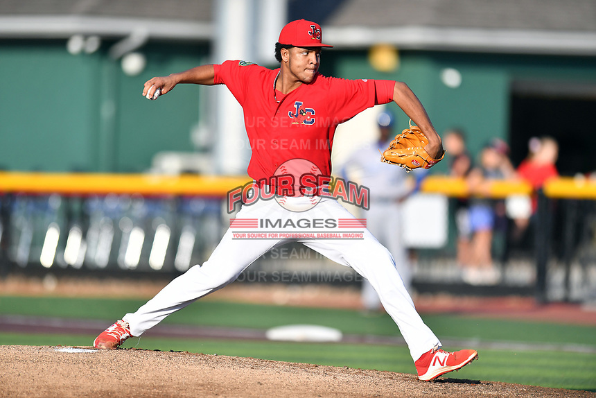 Johnson City Cardinals starting pitcher Julio Puello (35) delivers a pitch during game one of the Appalachian League Championship Series against the Burlington Royals at TVA Credit Union Ballpark on September 2, 2019 in Johnson City, Tennessee. The Royals defeated the Cardinals 9-2 to take the series lead 1-0. (Tony Farlow/Four Seam Images)