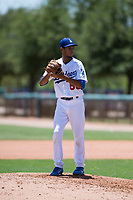 AZL Dodgers relief pitcher Edward Cuello (60) gets ready to deliver a pitch during an Arizona League game against the AZL Padres 2 at Camelback Ranch on July 4, 2018 in Glendale, Arizona. The AZL Dodgers defeated the AZL Padres 2 9-8. (Zachary Lucy/Four Seam Images)