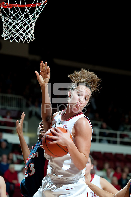 STANFORD, CA - JANUARY 6: Kayla Pedersen pulls down the rebound against the University of Arizona at Maples Pavilion, January 6, 2011 in Stanford, California.