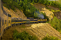 Alaska Railroad train crossing through Healy Canyon, near Denali National Park, Alaska