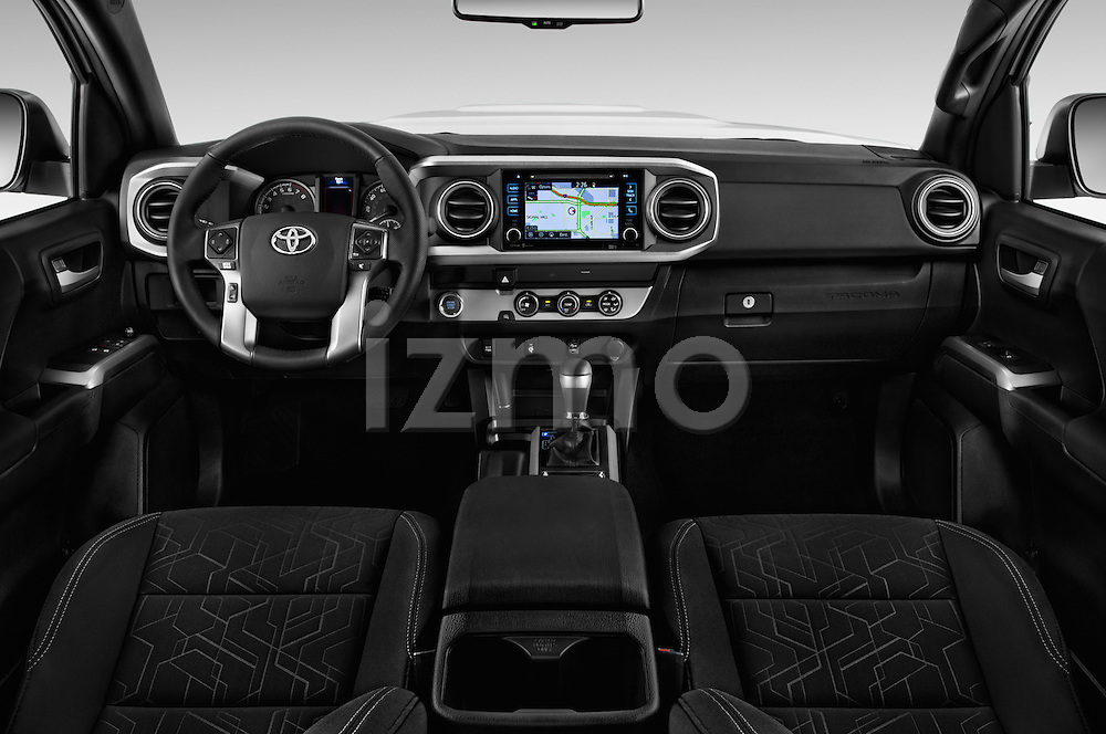 Stock photo of straight dashboard view of 2017 Toyota Tacoma TRD Sport 4 Door Pick Up Dashboard