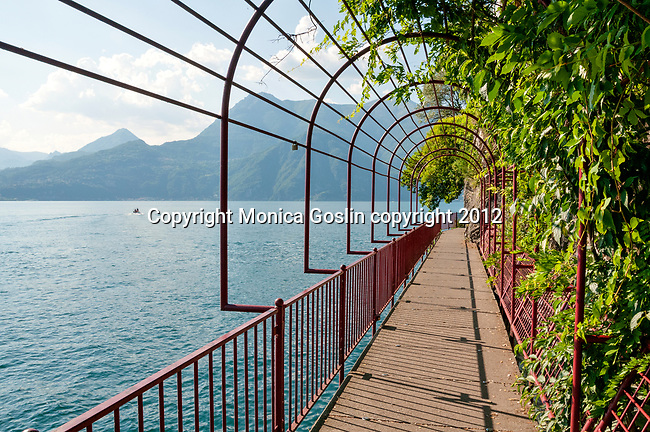 Waterfront walkway of Lake Como town, Varenna