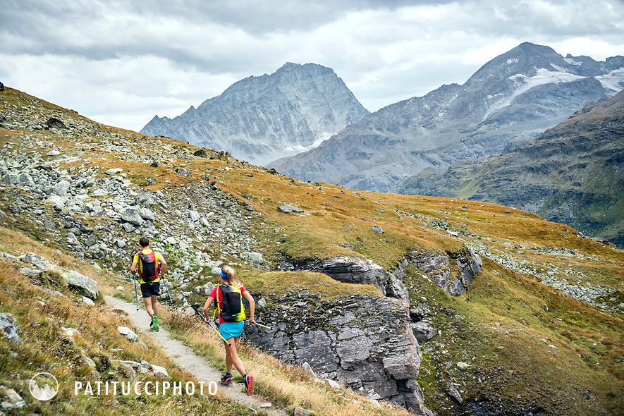 The Chamonix to Zermatt Glacier Haute Route. In late August 2017, we ran the tour in mountain running gear, running shoes, and all the necessary glacier travel and crevasse rescue gear. Running to the Chanrion Hut.