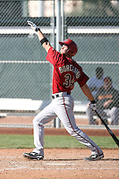 Bobby Borchering #34 of the Arizona Diamondbacks plays in a minor league spring training game against the San Francisco Giants at the Giants minor league complex on March 16, 2011  in Scottsdale, Arizona. .Photo by:  Bill Mitchell/Four Seam Images.