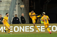 HARRISON, NJ - MARCH 11: Eduardo Vargas #9 of Tigres UANL celebrates scoring with Luis Quinones #23 during a game between Tigres UANL and NYCFC at Red Bull Arena on March 11, 2020 in Harrison, New Jersey.