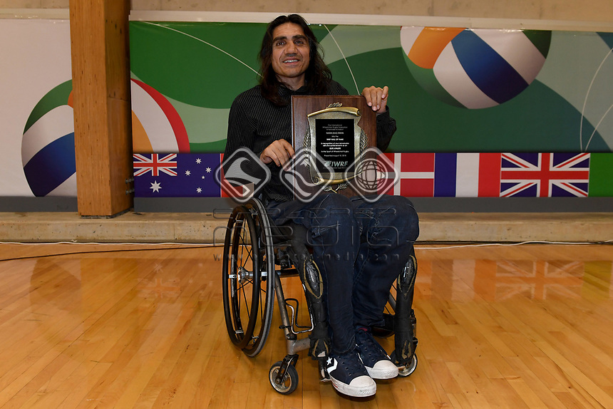 Nazim Erdem is the first Australian inductee in the IWRF Hall of Fame<br /> Australian Wheelchair Rugby Team<br /> 2018 IWRF WheelChair Rugby <br /> World Championship / Finals<br /> Sydney  NSW Australia<br /> Friday 10th August 2018<br /> &copy; Sport the library / Jeff Crow / APC