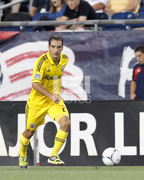 Columbus Crew defender Sebastian Miranda (21) looks to pass. In a Major League Soccer (MLS) match, the New England Revolution defeated Columbus Crew, 2-0, at Gillette Stadium on September 5, 2012.
