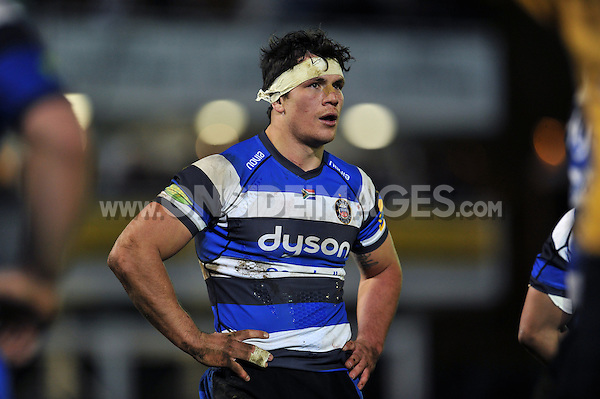 Francois Louw of Bath Rugby looks on during a break in play. Aviva Premiership match, between Bath Rugby and Sale Sharks on March 6, 2015 at the Recreation Ground in Bath, England. Photo by: Patrick Khachfe / Onside Images
