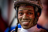 SARATOGA SPRINGS, NY- AUGUST 03: Jockey, Ricardo Santan Jr, after a race at Saratoga Racecourse on August 3, 2018 in Saratoga Springs, New York.(Photo by Alex Evers/Eclipse Sportswire)