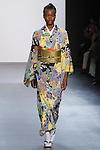 "Model walks runway in a ""Wriggling at night"" silk kimono from the Hiromi Asai Fall Winter 2016 ""Spirit of the Earth"" collection by Hiromi Asai & Kimono Artisan Kyoto, presented at NYFW: The Shows Fall 2016, during New York Fashion Week Fall 2016."