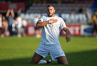 Taser Hassan celebrates scoring a goal during the 'Greatest Show on Turf' Celebrity Event - Once in a Blue Moon Events at the London Borough of Barking and Dagenham Stadium, London, England on 8 May 2016. Photo by Andy Rowland.