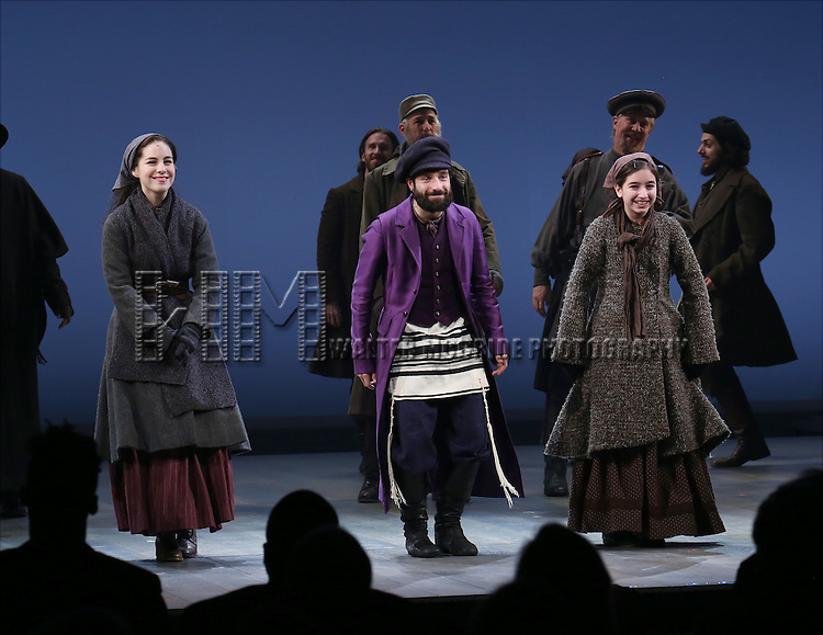 Cast during the Broadway Opening Night Performance Curtain Call bows for 'Fiddler On The Roof'  at the Broadway Theatre on December 20, 2015 in New York City.