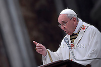 Pope Francis Chrismal mass in the morning of Holy Thursday at St Peter's basilica.April 17,2014