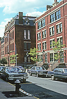 New York: Brooklyn Heights--Poplar St. between Hicks & Henry Sts. Left, an orphanage, 1883, restored 1987; to a Modern Row, 1983. Photo '91.