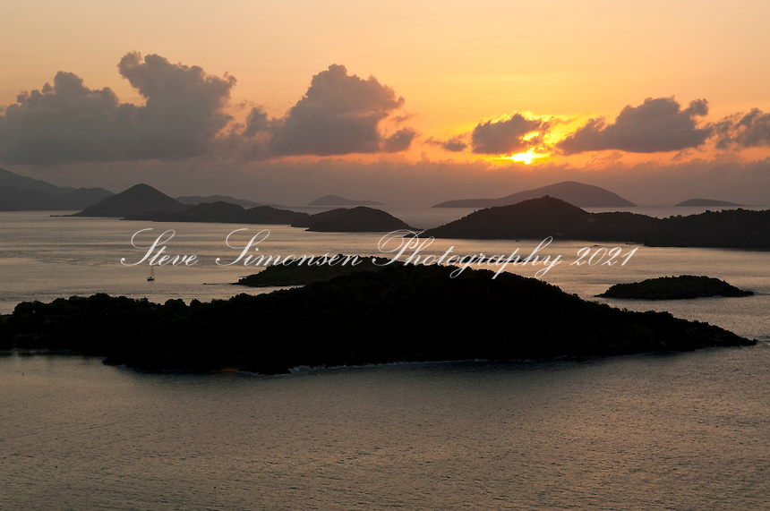 Sunset from St. John<br /> Overlooking the outer Cays<br /> U.S. Virgin Islands