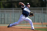 UW-Stout Blue Devils pitcher Hayden Bowe (4) during the second game of a doubleheader against the Edgewood Eagles on March 16, 2015 at Lee County Player Development Complex in Fort Myers, Florida.  UW-Stout defeated Edgewood 8-2.  (Mike Janes/Four Seam Images)
