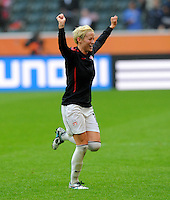 Megan Rapinoe of team USA celebrates during the FIFA Women's World Cup at the FIFA Stadium in Moenchengladbach, Germany on July 13th, 2011.