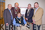 50TH ANNIVERSARY: Gathered to celebrate the 50th anniversary of the Irish Wheelchair Association in the Brandon Hotel on Friday evening from l-r were: John O'Connor Deputy County Manager, Michael Gleeson Mayor of Killarney, Terry O'Brien Mayor of Tralee, Bobby O'Connell Mayor of Kerry and Tom Walsh Mayor of Listowel.
